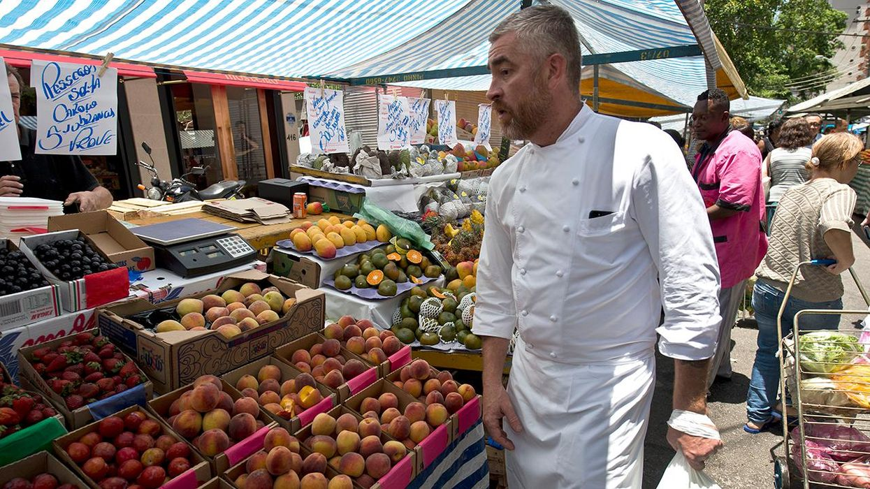 chef at outdoor food market