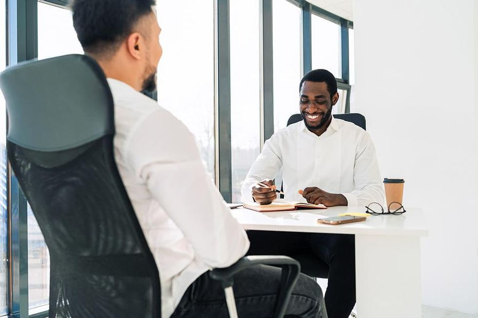 Man tries to be interesting during a job interview