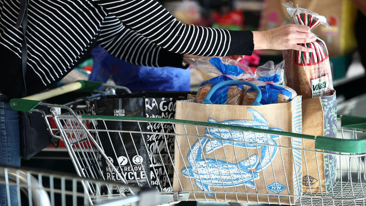 Reusable bags being packed at a supermarket in New Zealand.