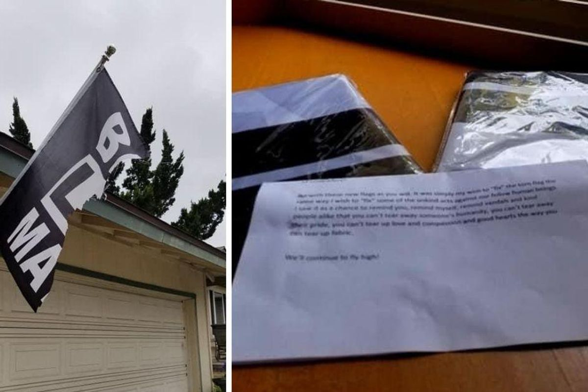 After their BLM flag was torn in two, an anonymous neighbor left them the perfect note