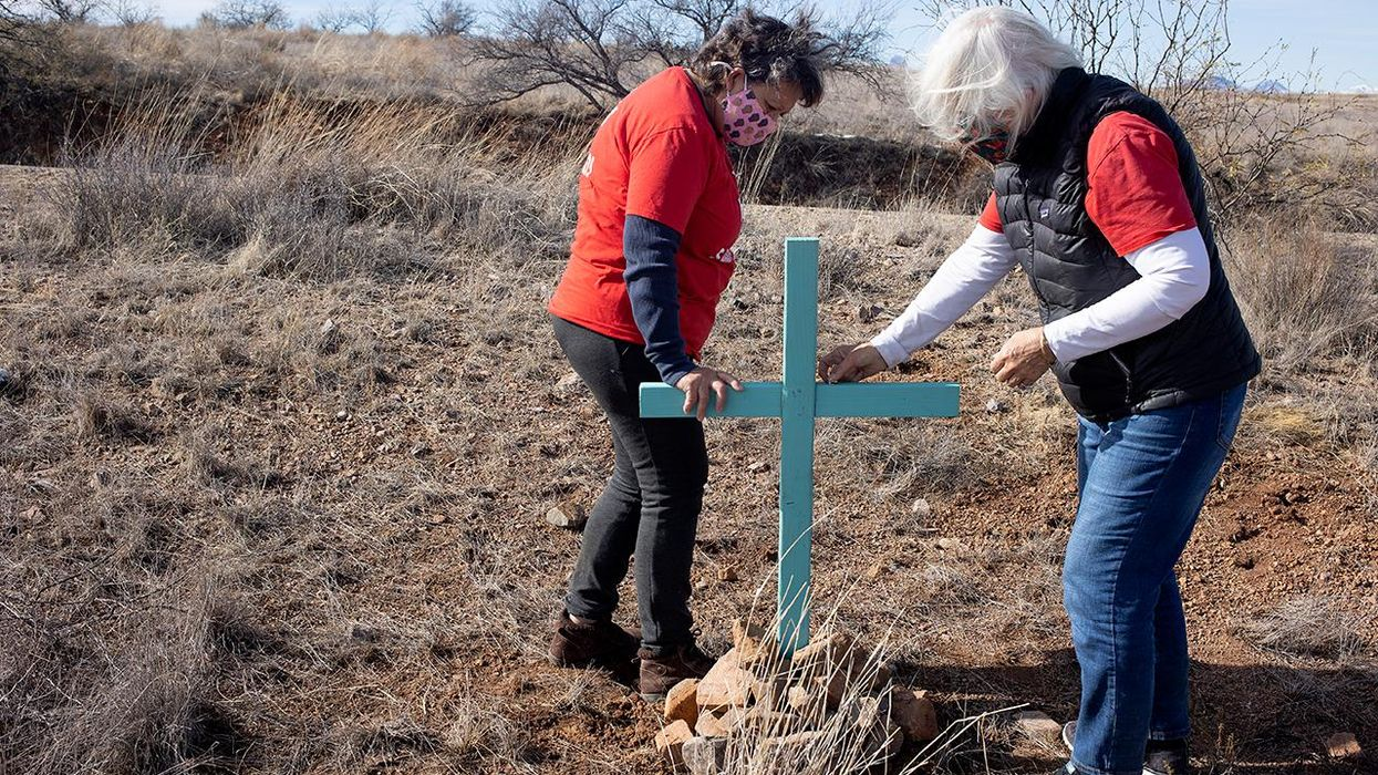 Crosses left by border activists
