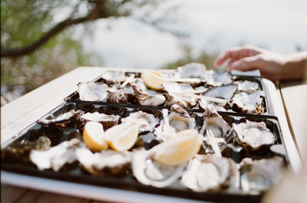 oysters on a tray with lemons