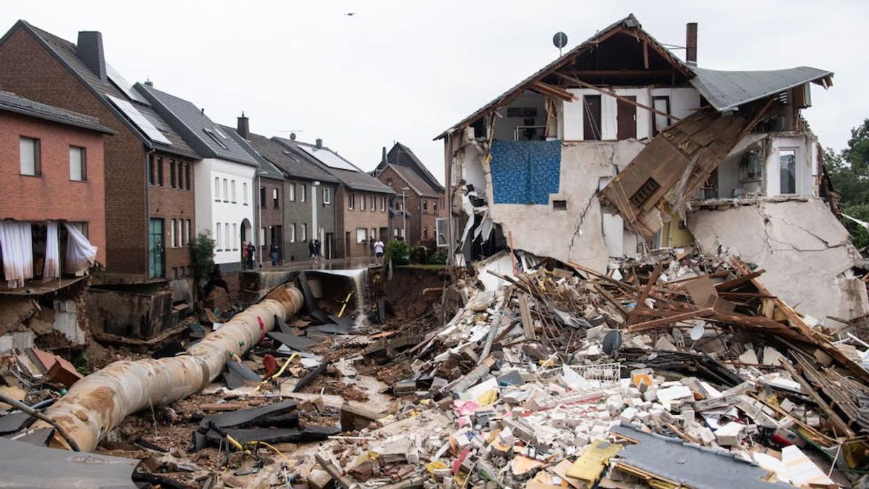 An area completely destroyed by the flood in Germany.