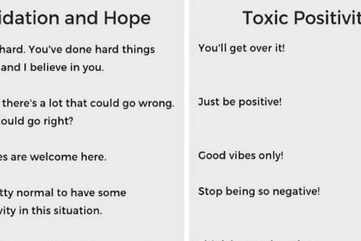 A helpful chart to explain the difference between support and 'toxic positivity'