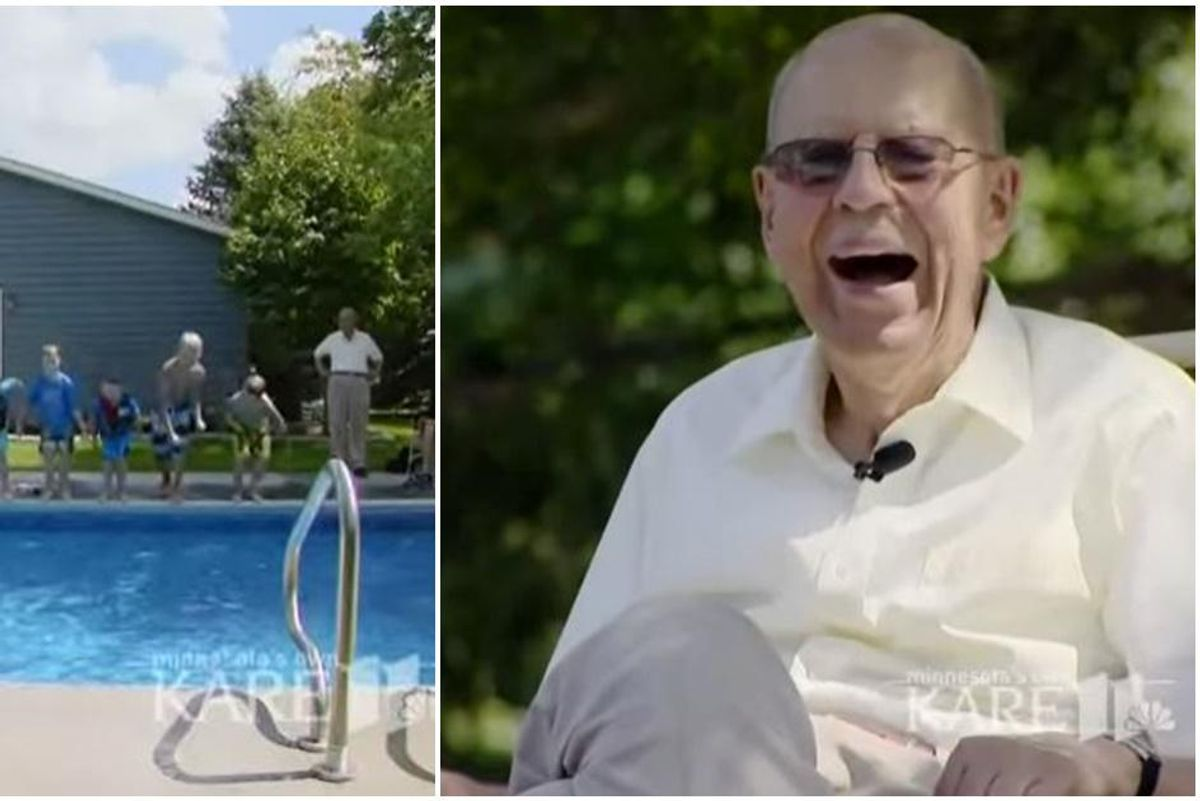 A 94-year-old widower built a community pool to share with everyone after losing his wife