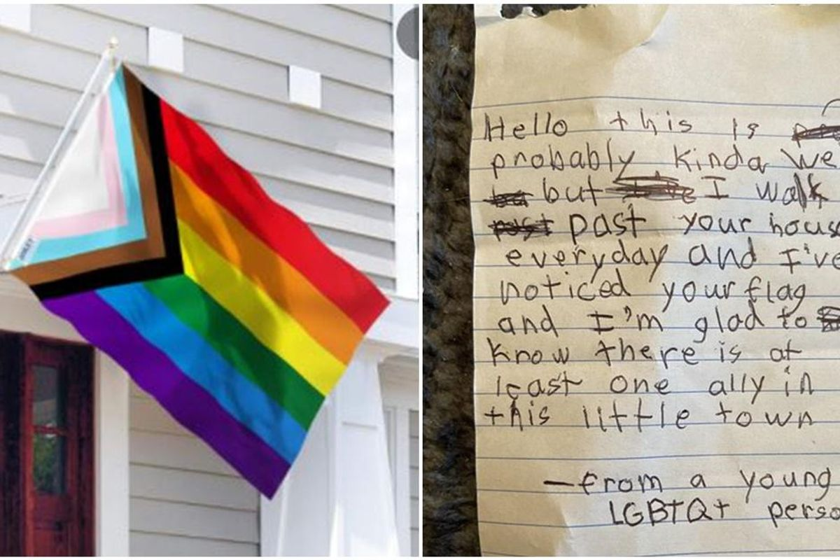 Small-town young LGBTQ+ person left a heartwarming note for a woman who flew Pride flag