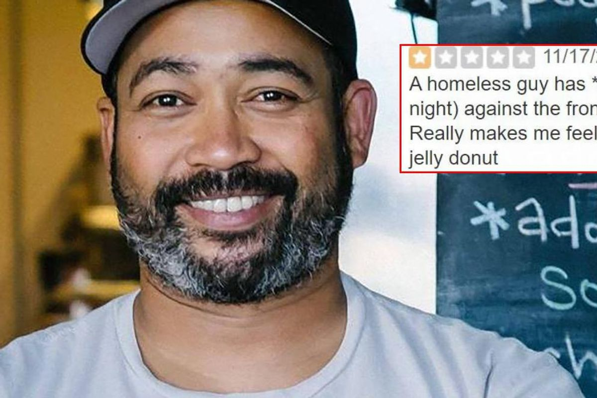 Restaurant owner defends homeless man who lives outside the store after 1-star review