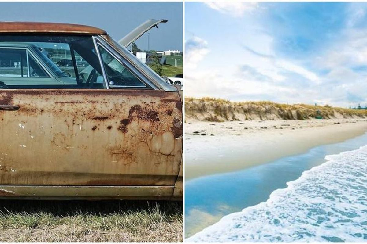 Bizarre optical illusion has people either seeing a car door or the beach
