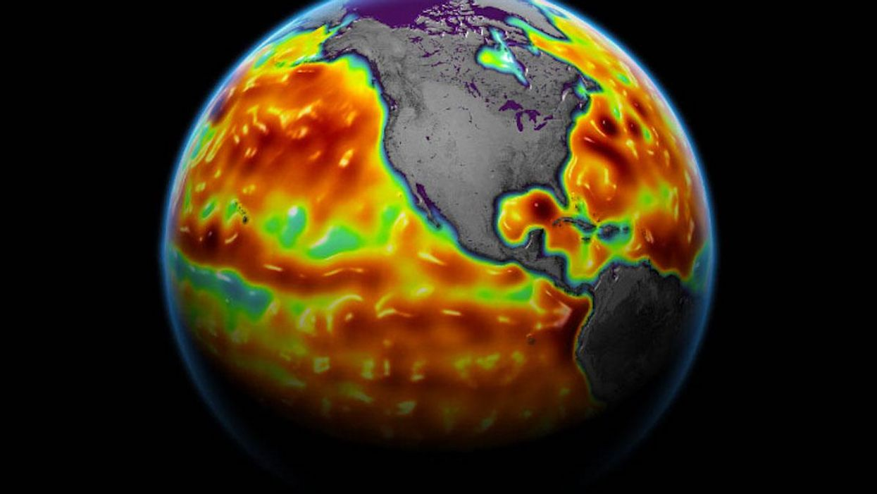 The Sentinel-6 Michael Freilich satellite measures sea surface height and other ocean surface features.