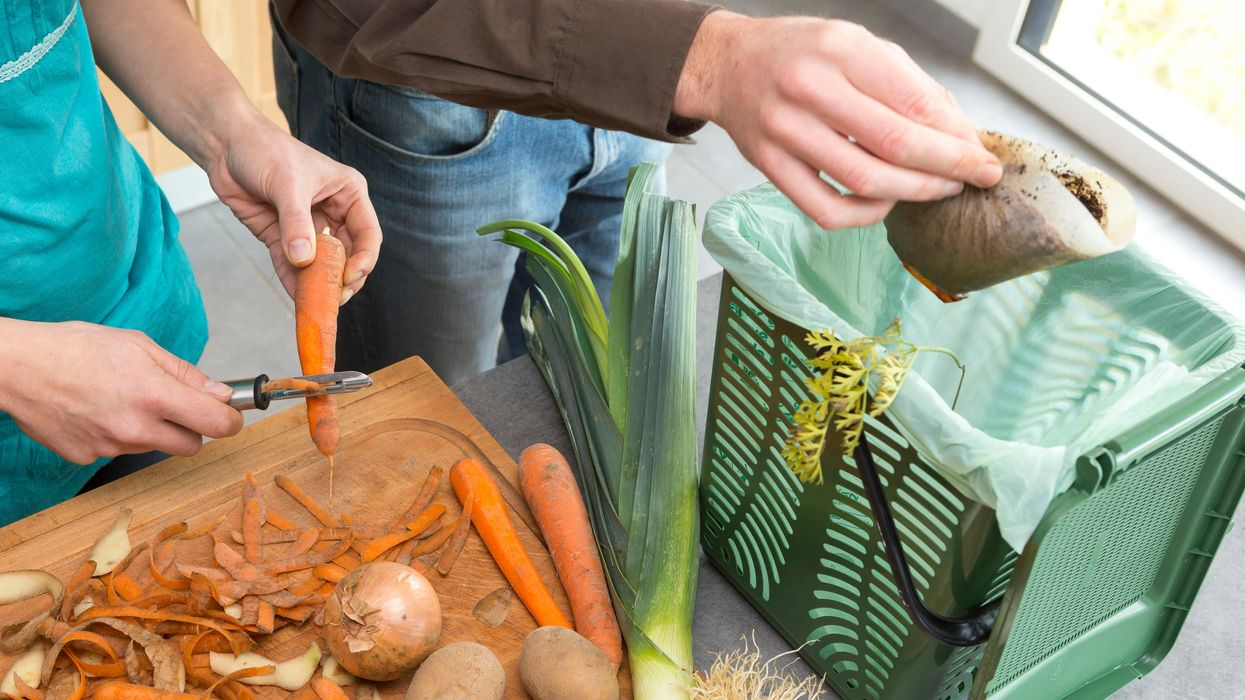 Peeling carrots and putting coffee grounds into kitchen countertop compost bin