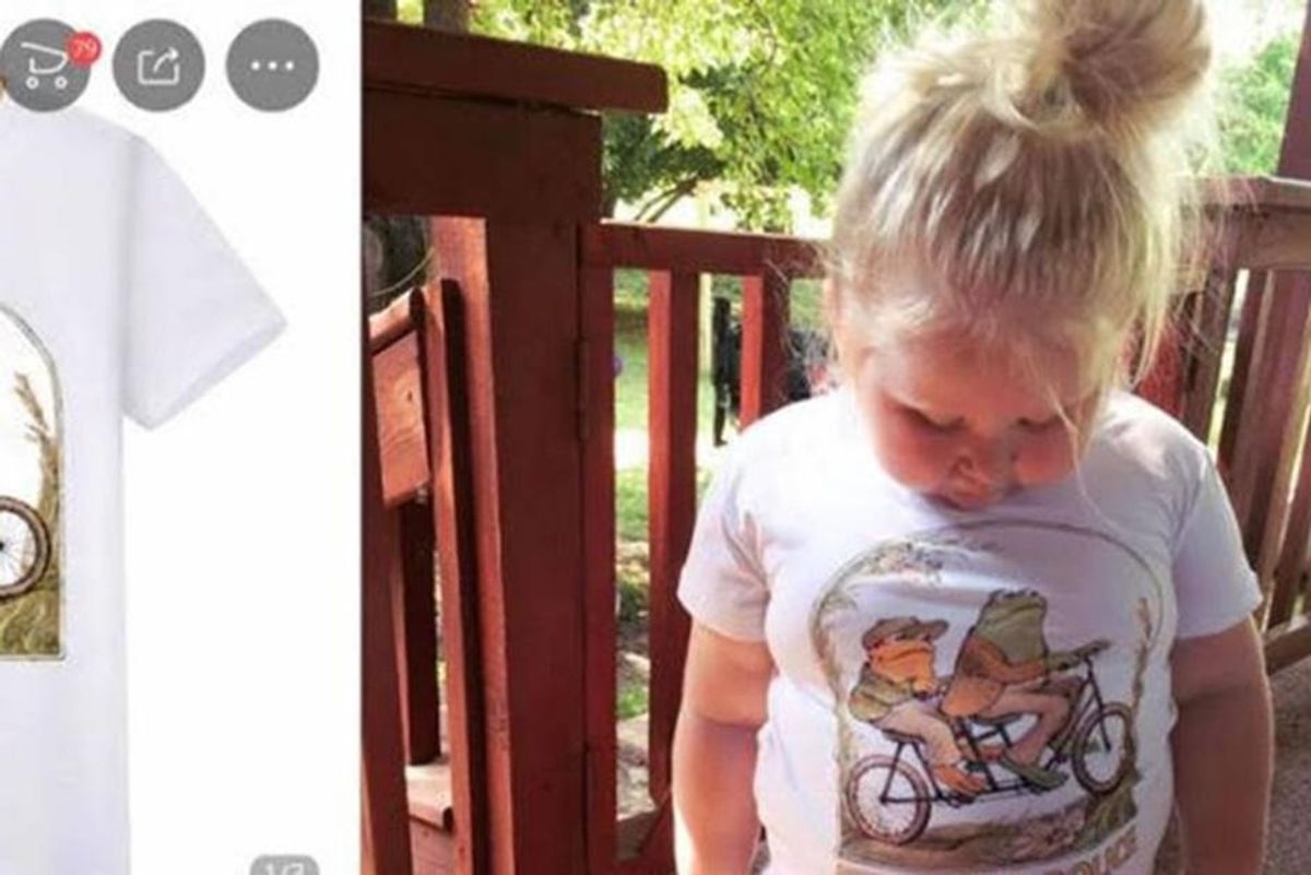 Mom ordered an infant-sized Frog and Toad shirt from China. When it arrived, she 'just screamed.'