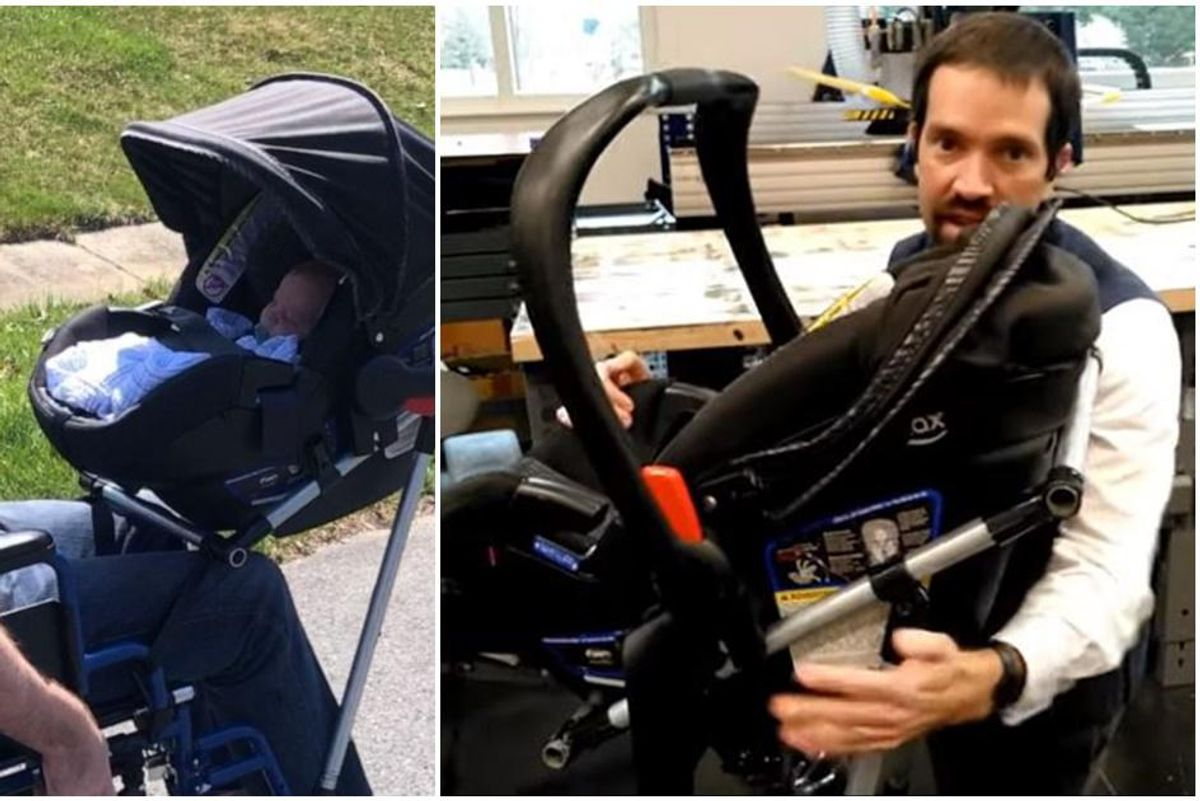 Dad with impaired mobility can walk his newborn after crafty teens built him a 'wheestroll'