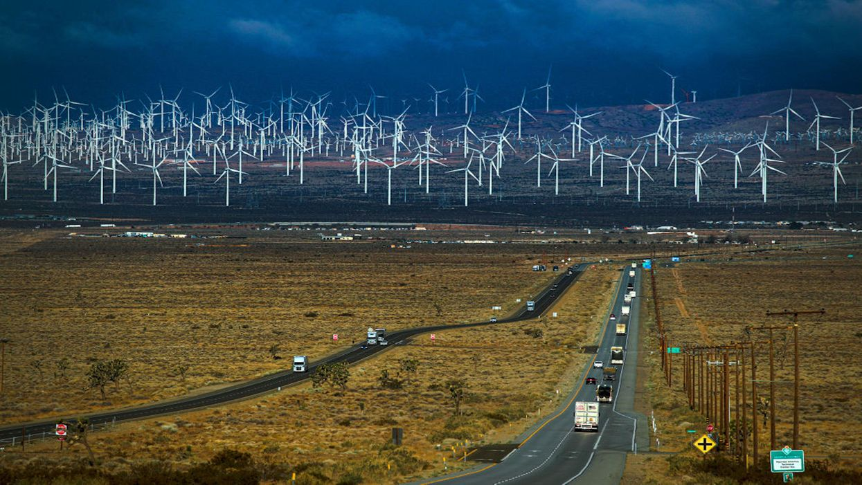 A view of wind turbines from Highway 58 in Mojave, California.