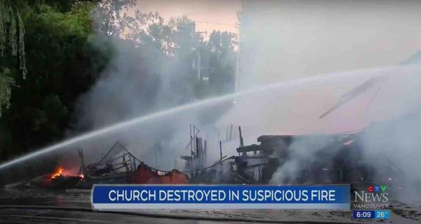 Despite video of hooded figure setting fire to Canadian church, officials uncertain if blaze days later that burned same church to ground was arson