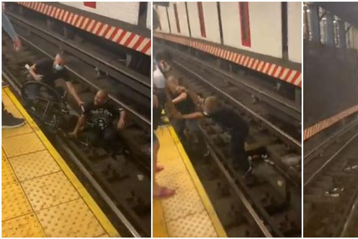 Dramatic footage shows a man being rescued just in time after falling on the subway tracks