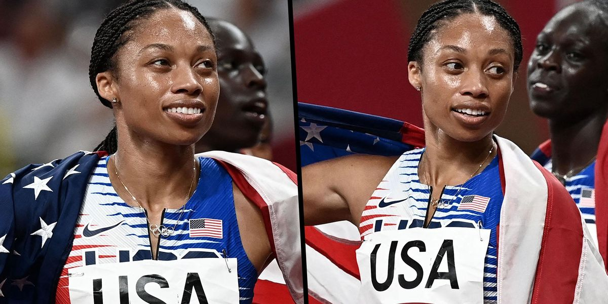 Allyson Felix Defies Calls to Protest and Wraps Herself up in the US Flag After Winning Gold