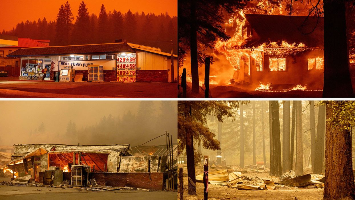 Before and after photos of a gas station and a home, destroyed by the Dixie Fire in California.