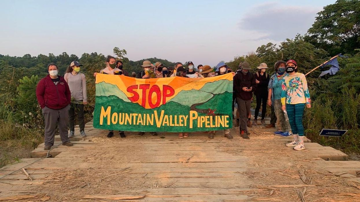 Environmentalists protest against the Mountain Valley Pipeline.