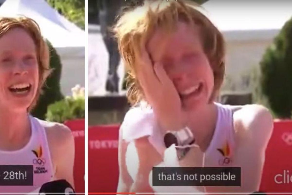 Belgian Olympic marathoner breaks down in tears of disbelief upon hearing she finished 28th