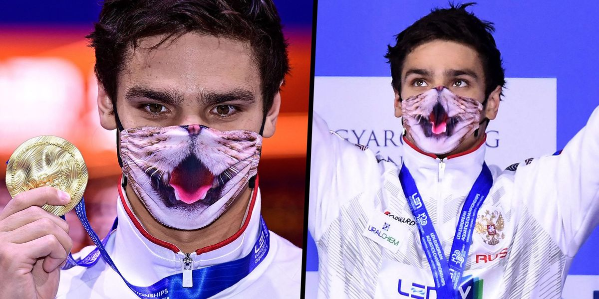 Olympian Insists on Wearing His Favorite Cat Mask for the Medal Ceremony