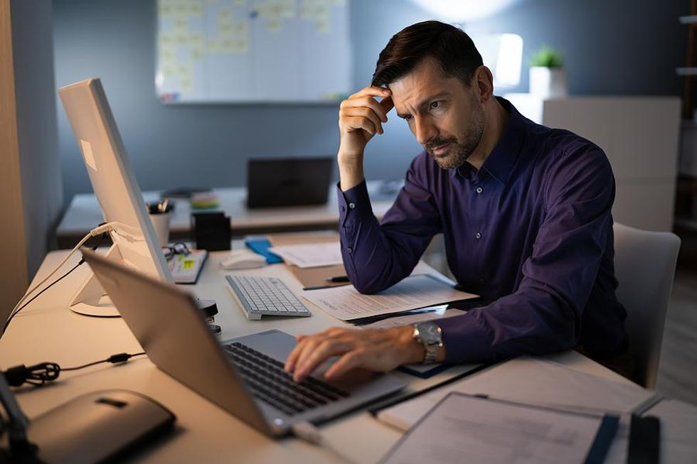 Man stressed about work