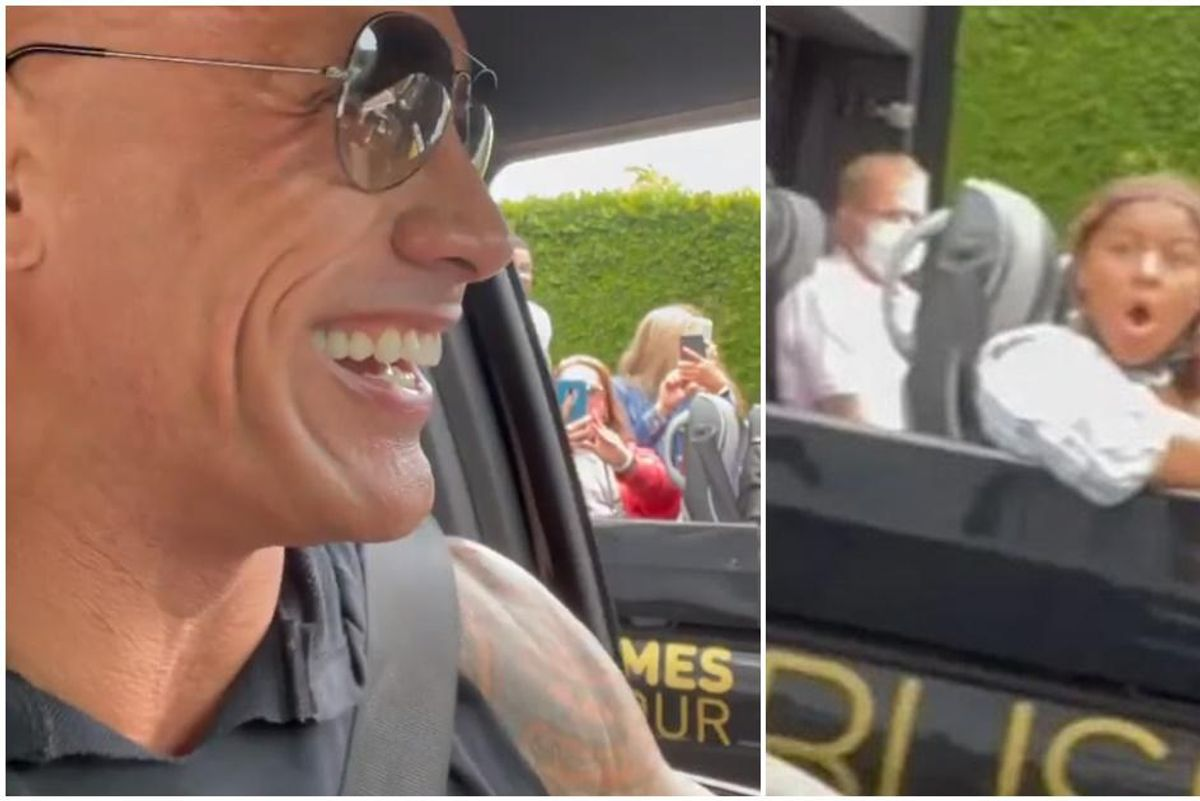 The Rock surprised a group of tourists near his house and their reaction is pure joy