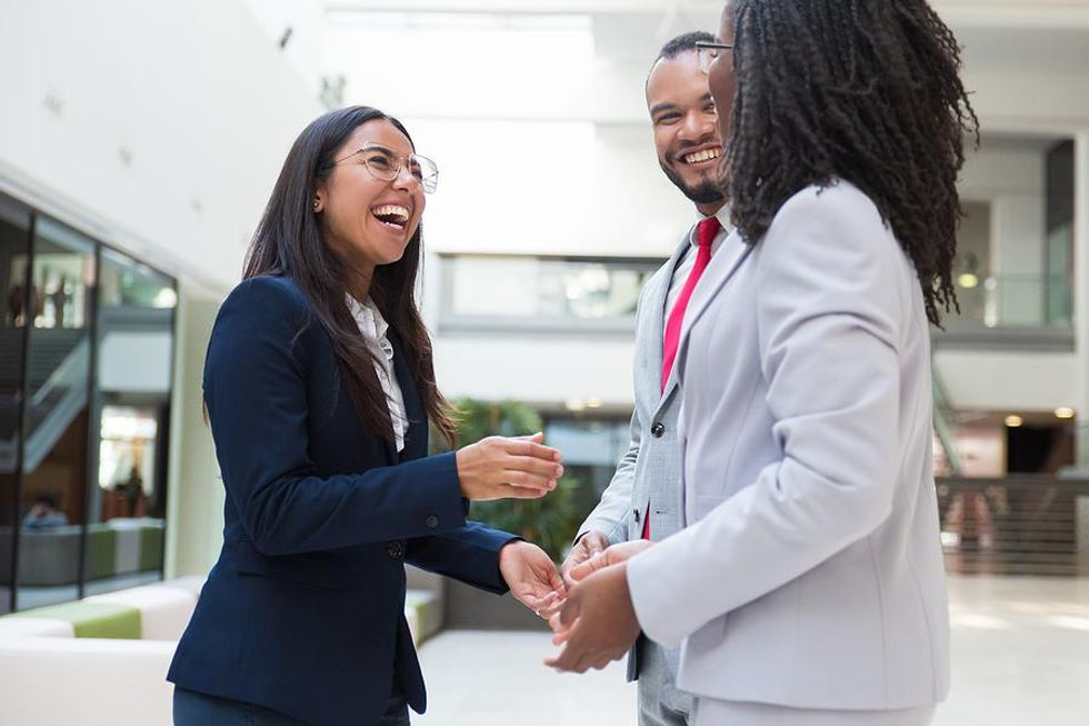 Woman talks to her professional connections about taking control of her career