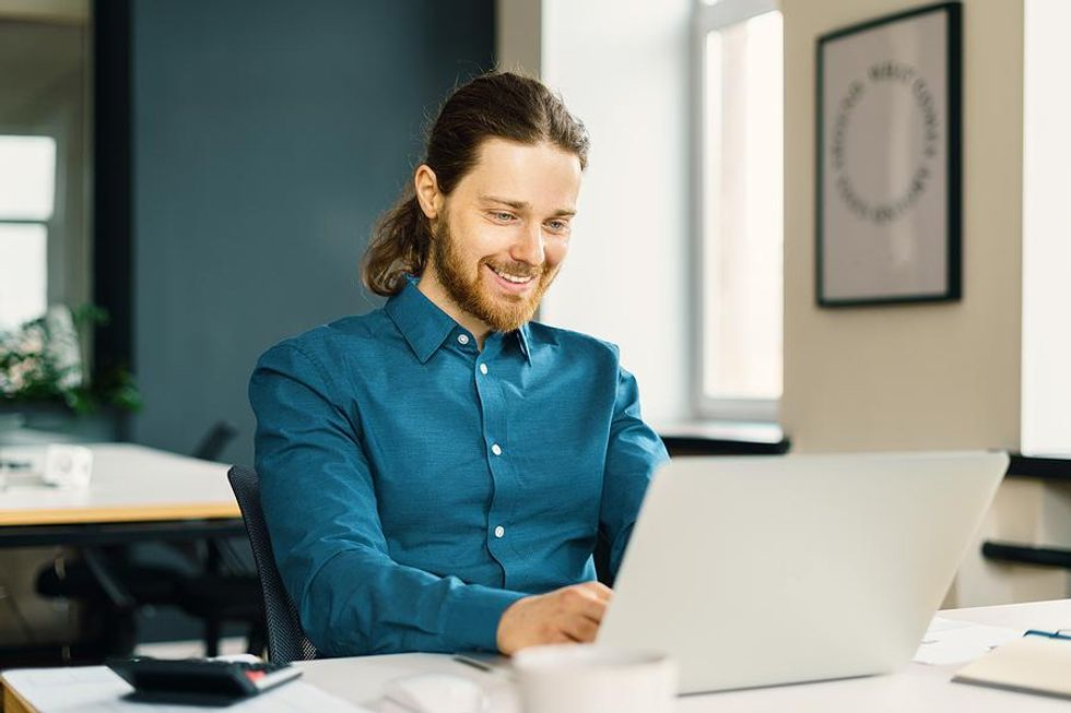 Man attends a virtual networking event