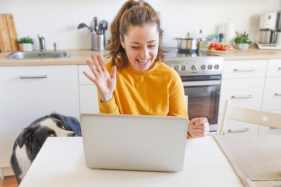 Woman attends an online networking event