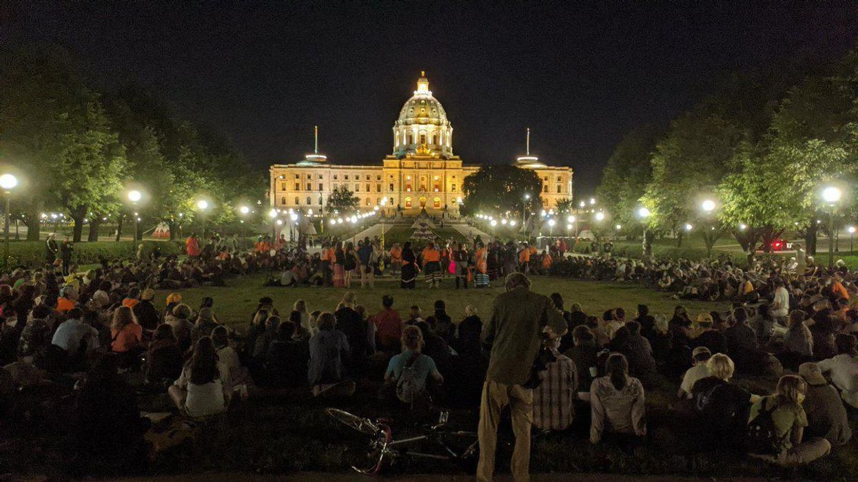 Protestors on the grounds of the Minnesota State Capitol.