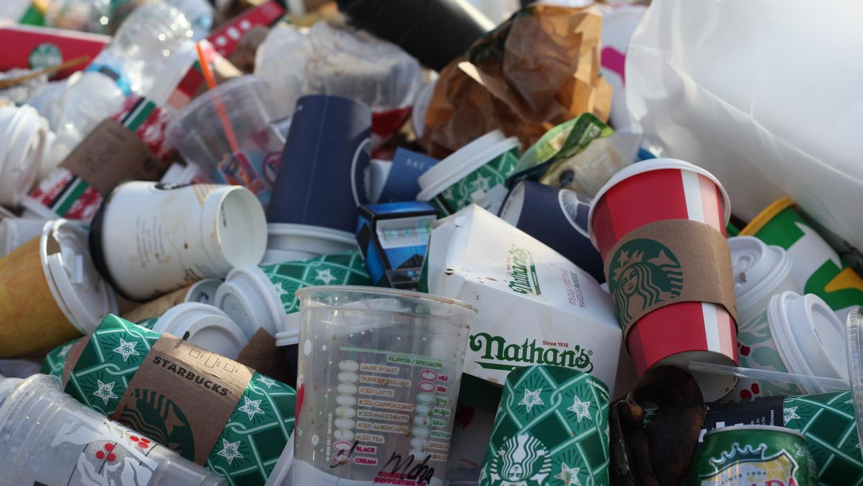Discarded food and beverage packaging