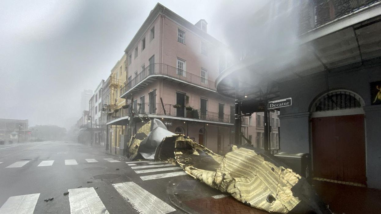 A section of a building's roof blown off from Hurricane Ida in New Orleans.