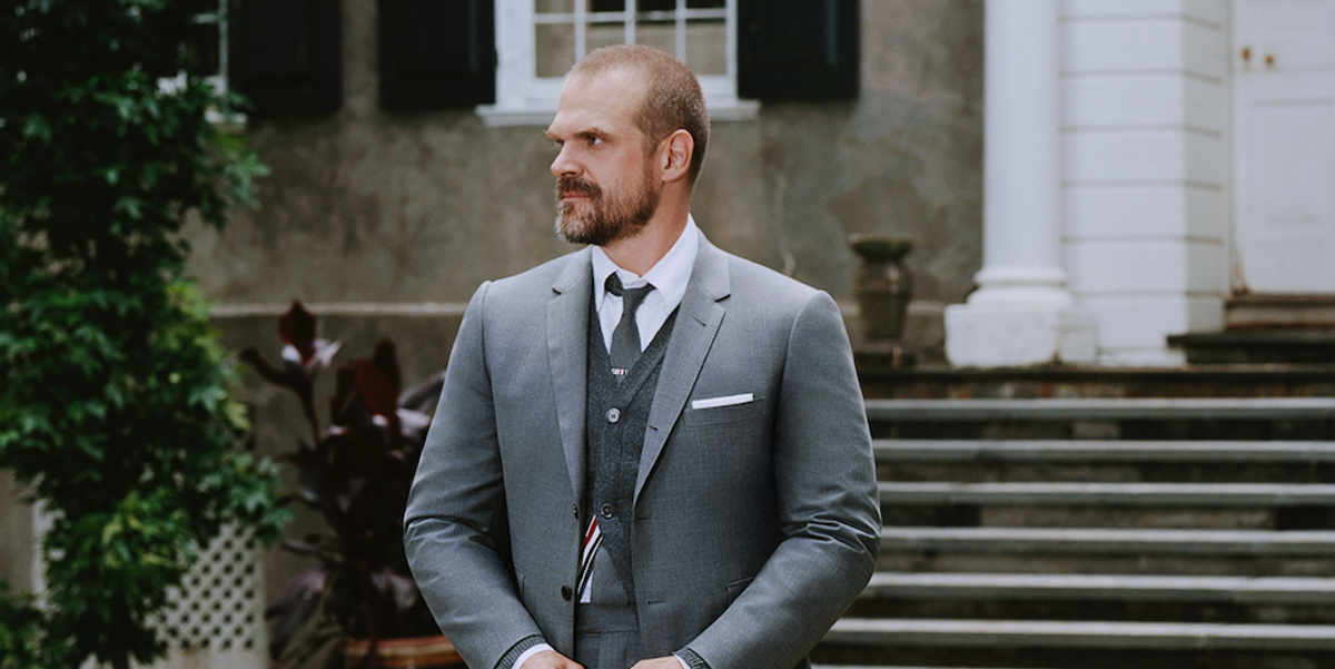 Thom Browne Shows Off a New Side to David Harbour's Rugged Style