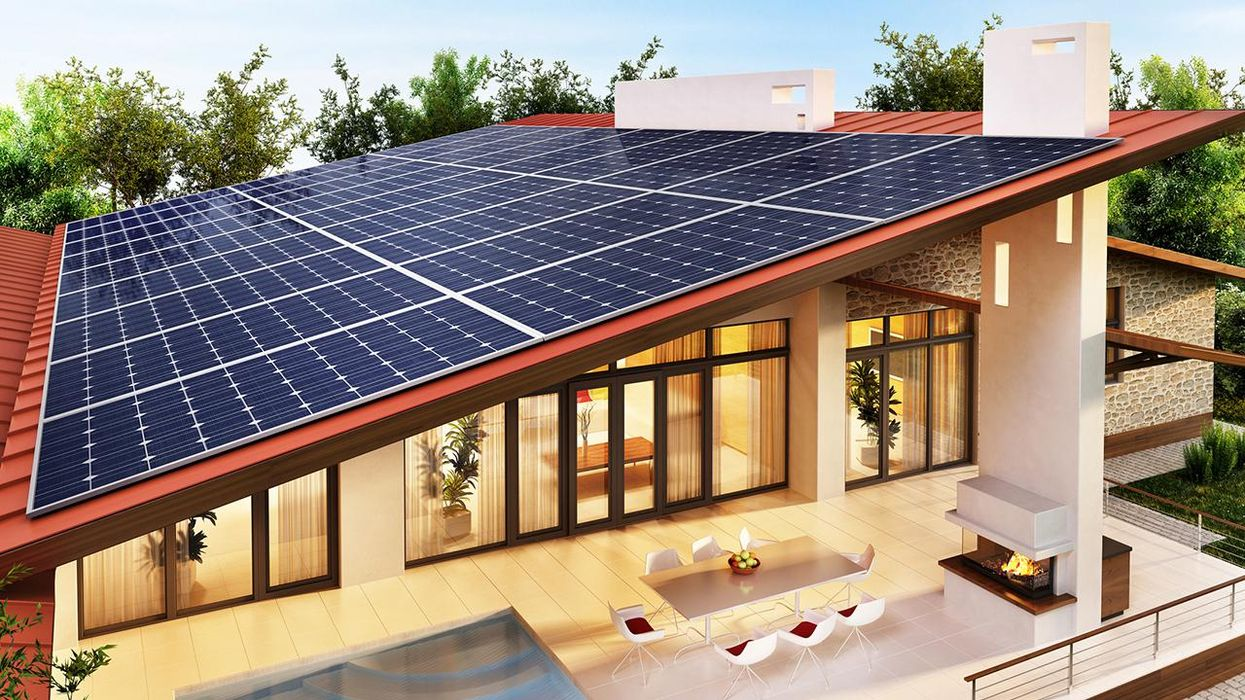 Solar panels on the roof of the modern house