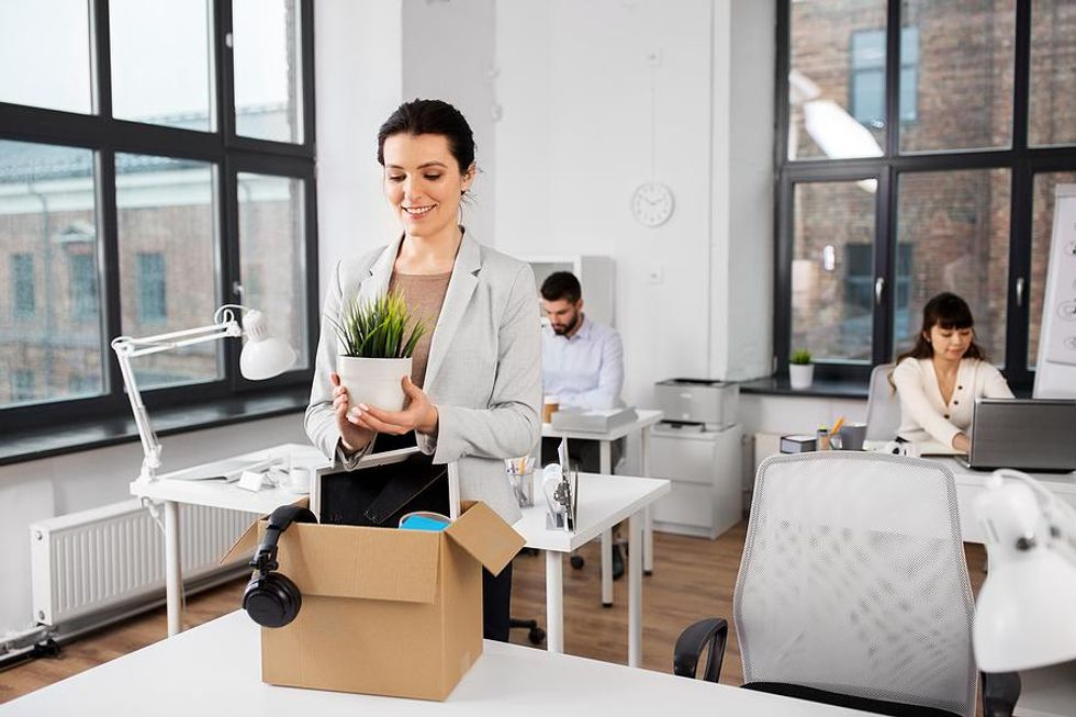 Woman is happy about leaving her job