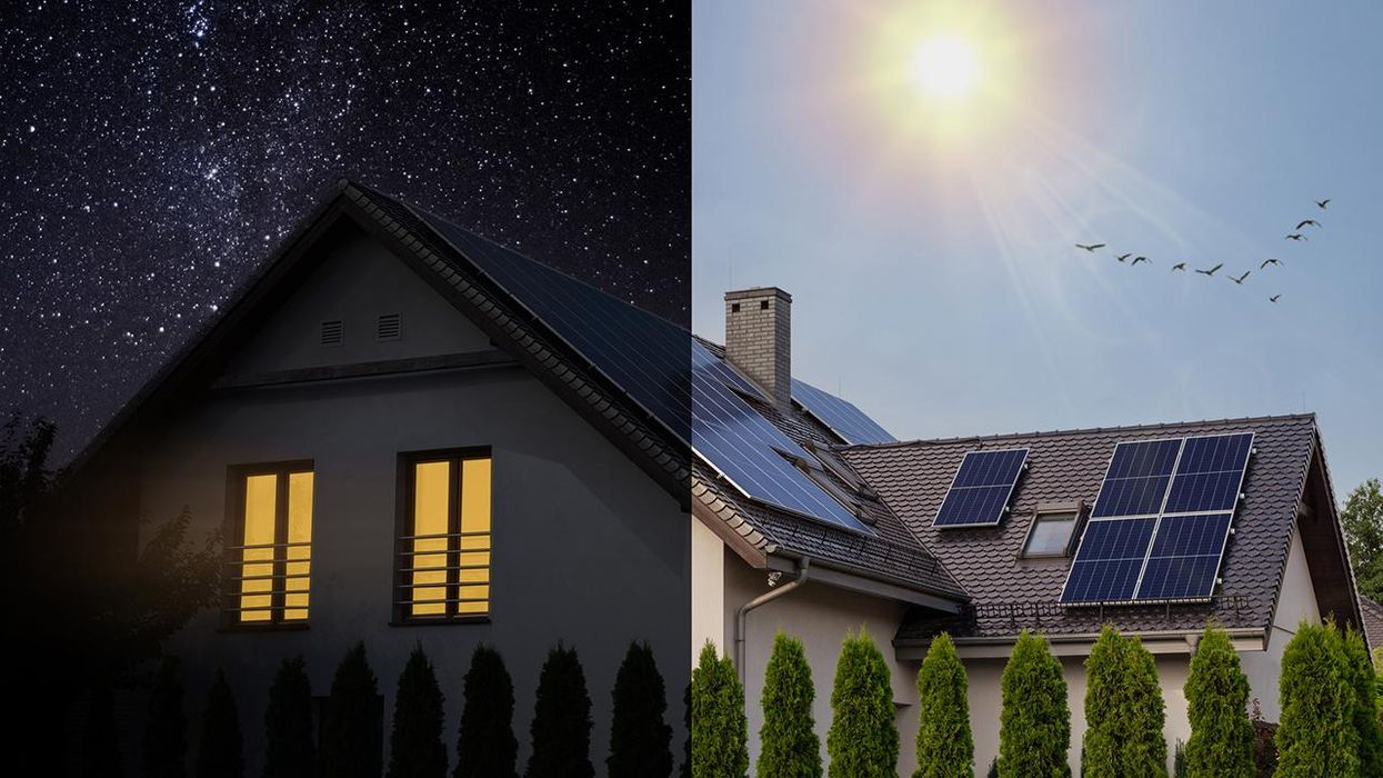 Solar panel day and night. The idea of ecology - solar energy at home.
