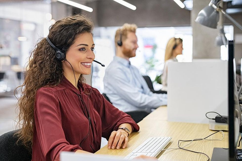 Woman sitting at her desk at work