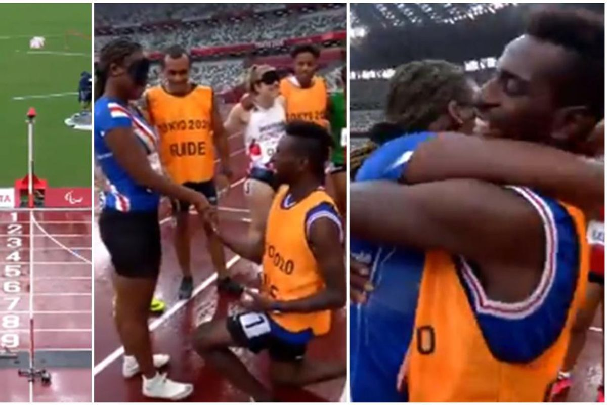A visually impaired Paralympian is overjoyed when her guide proposes to her after their race
