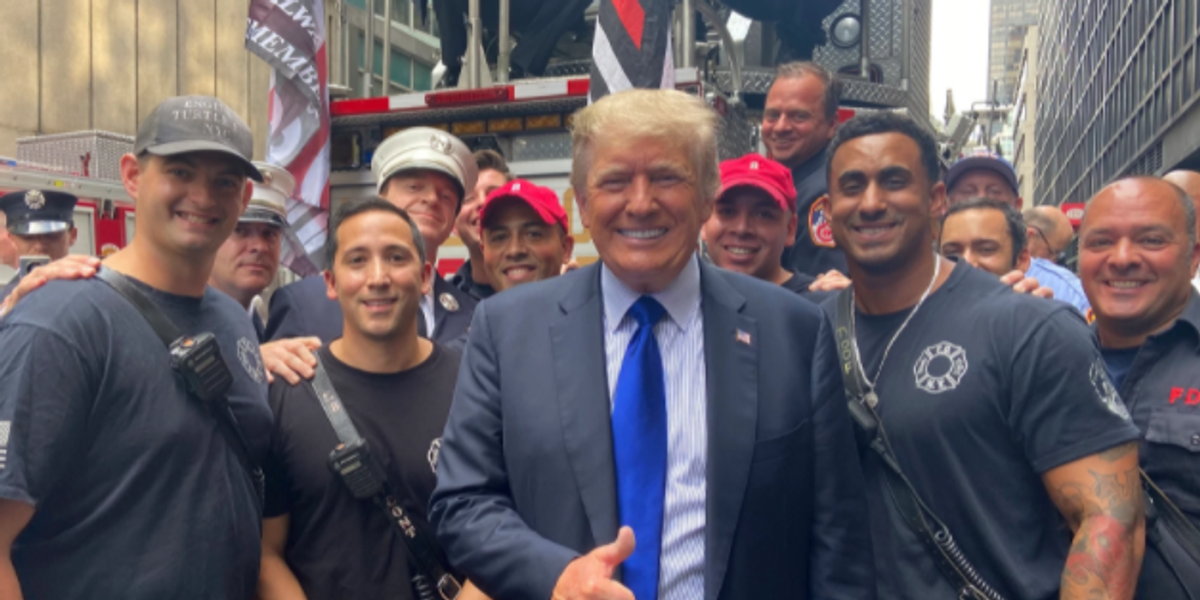 Donald Trump Made Surprise Visit To New York Police and Firefighters on 9/11