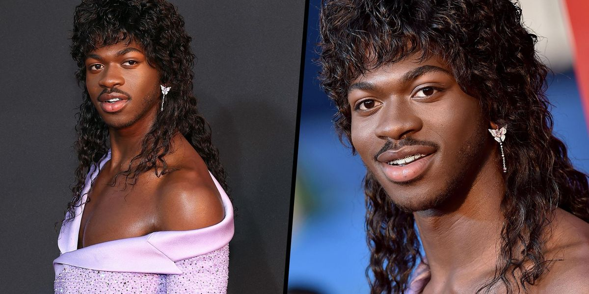 Lil Nas X Stuns in Lavender Suit and Gown With a Curly Mullet at the VMAs