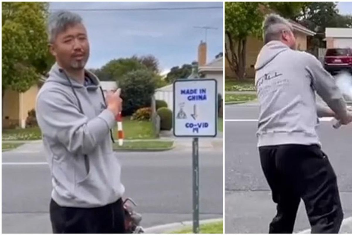 In a brave act of defiance, man destroys racist, anti-Chinese sign posted in his neighborhood
