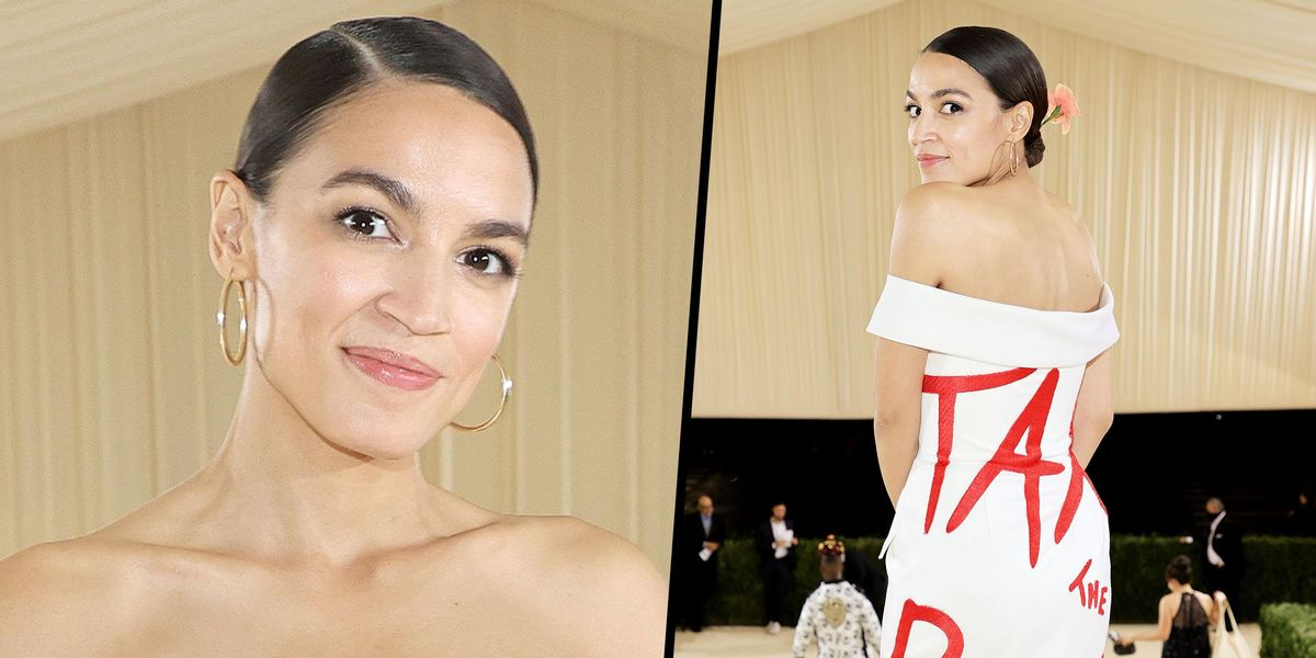 AOC Causes a Stir at the Met Gala With 'Tax the Rich' Gown