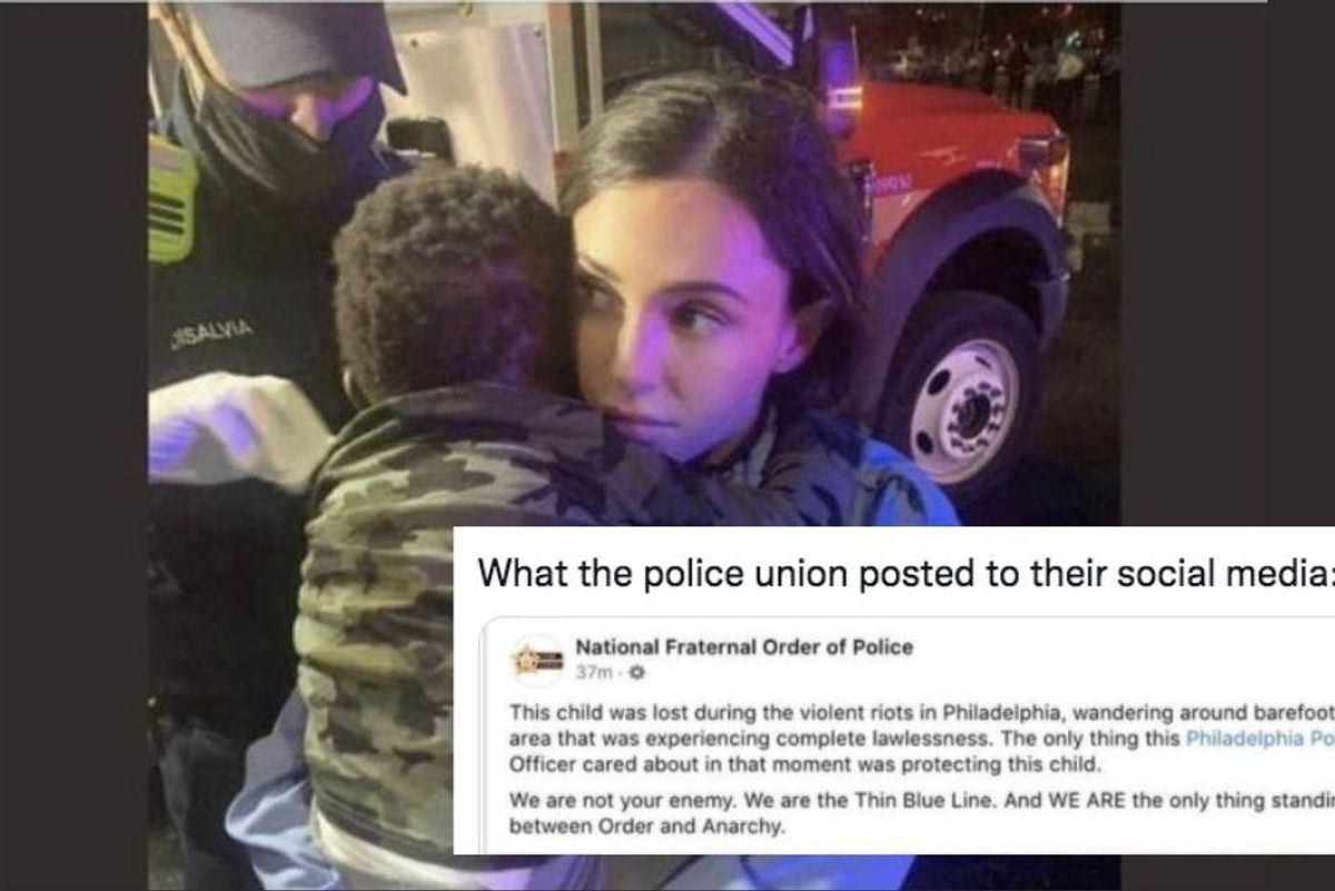 The toddler in this 'sweet' viral photo is actually the victim of a police brutality case
