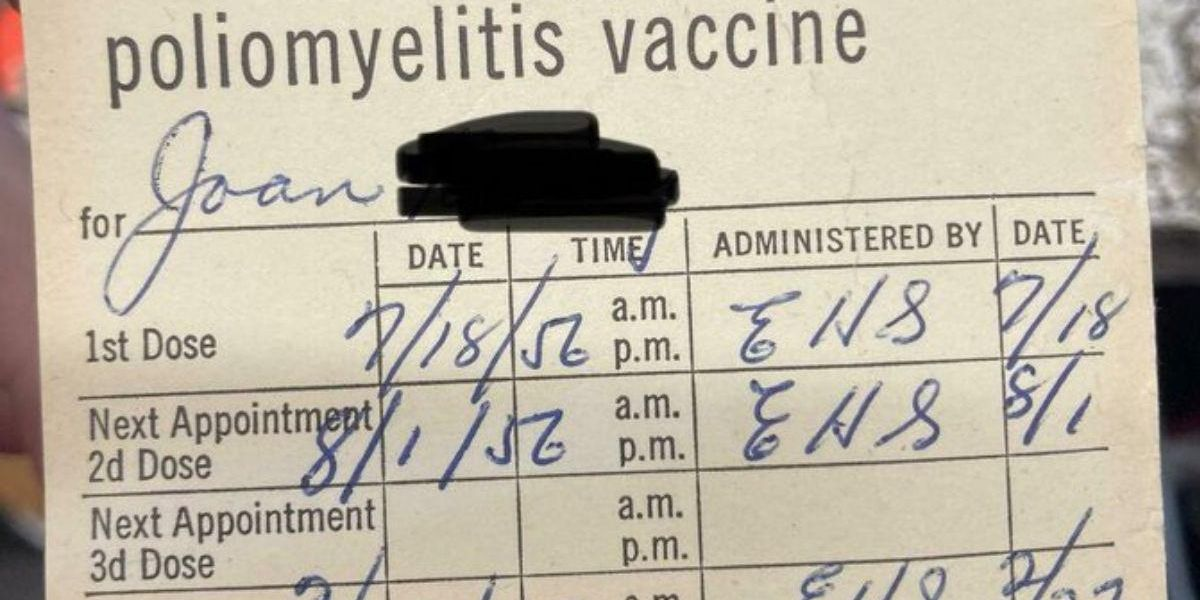 Thrift store worker finds a polio vaccine card from 1956. Sure looks familiar, doesn't it?