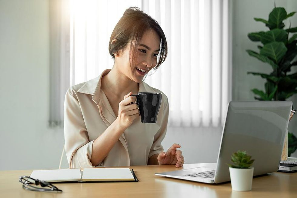 Woman happy after talking to her boss
