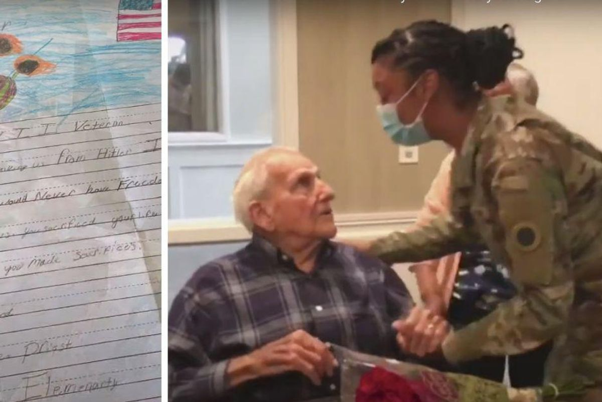 WWII vet finally meets the girl who wrote him a letter that he's carried for 12 years