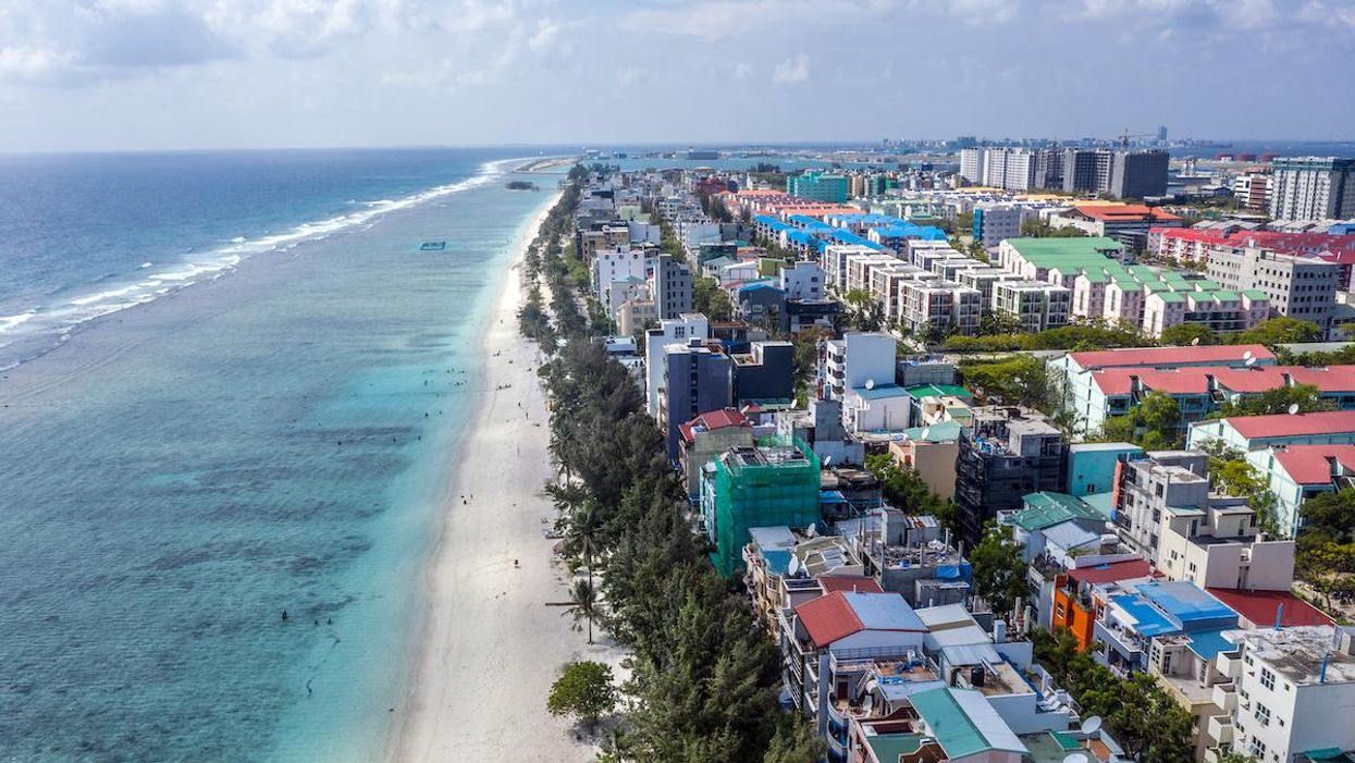 Buildings on Hulhumale, an artificial island built up to 10 feet above sea level in Male, Maldives.