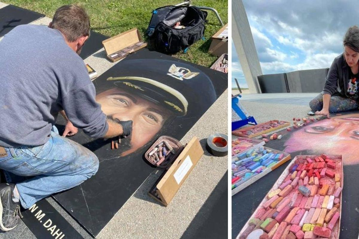 Artists made these 40 chalk portraits honoring each passenger and crew member of Flight 93