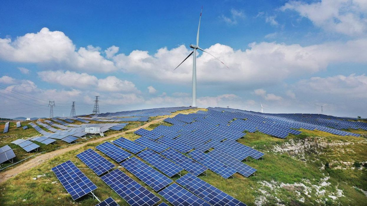 A wind-solar hybrid photovoltaic power station in China.