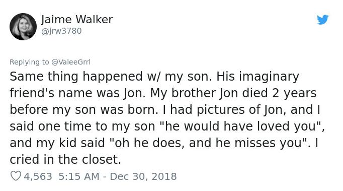 imaginary friend named Jon was mom's brother tweet